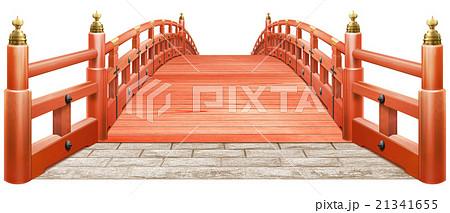日本式 橋 木製 朱塗り 赤 白背景 CG 21341655
