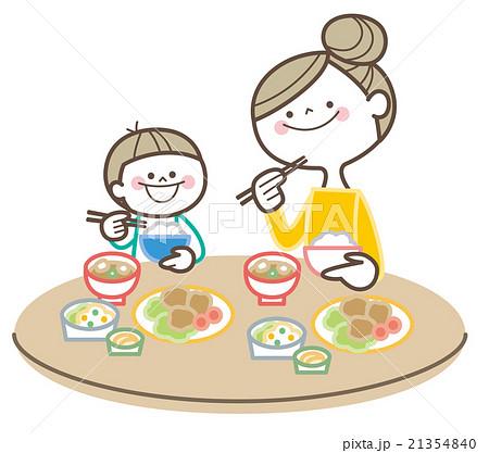 親子 食事のイラスト素材 21354840 Pixta