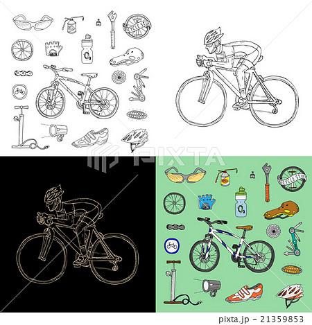 Bicycle stuff. Racing cyclist. Big doodle set のイラスト素材 [21359853] - PIXTA