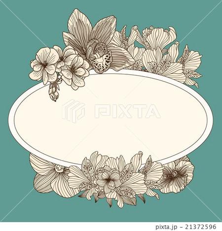 Frame with vintage flowers on dark teal backgroundのイラスト素材 [21372596] - PIXTA