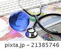投資診断/グラフ,聴診器,地球,キーボード 21385746