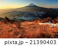朝の御坂山地・雪頭ヶ岳から富士山と西湖 21390403