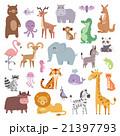 Cartoon zoo animals big set wildlife mammal flat 21397793