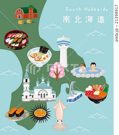 南北海道 イラストマップ 21398917