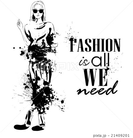 fashion look girl with splashesのイラスト素材 [21409201] - PIXTA