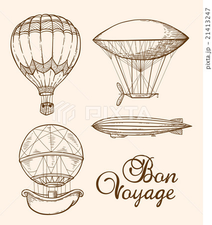 Set of vintage air balloonsのイラスト素材 [21413247] - PIXTA