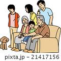 三世代 家族 犬のイラスト 21417156