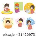 女の子 風邪予防 風邪対策のイラスト 21420973