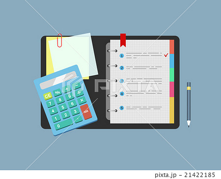 Calculator, notepad, note paper and pencil lie onのイラスト素材 [21422185] - PIXTA