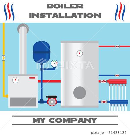 Boiler installation banner. Vector.のイラスト素材 [21423125] - PIXTA