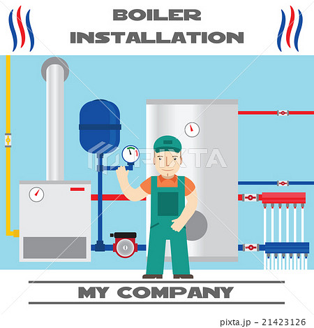 Boiler installation banner. Business card. Vector.のイラスト素材 [21423126] - PIXTA