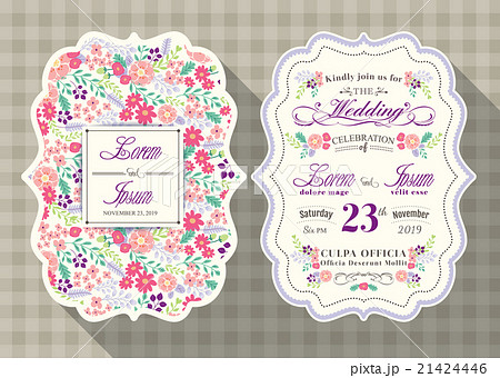 vintage flower wedding invitation card templateのイラスト素材