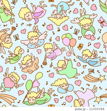 Seamless pattern from cartoon angels, heartsのイラスト素材 [21434789] - PIXTA