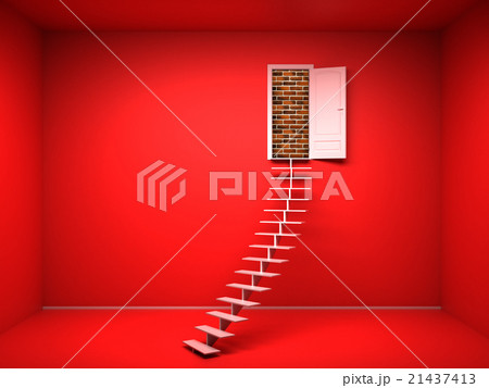 3d red room with opened door brick wallのイラスト素材 21437413