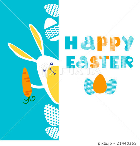 Rabbit Bunny Painted Eggs Easter Holiday Bannerのイラスト素材 [21440365] - PIXTA