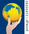 世界地図が投射されたハンドボールを持った手 ベクターイラスト 21450392