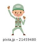 ガッツポーズをする作業服姿の男性 21459480