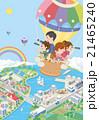 町並み 家族 気球 21465240