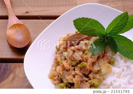 カフェ風グリーンピースとひき肉のカレー 21531793