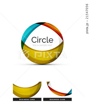 Circle logo. Transparent overlapping swirl shapesのイラスト素材 [21547056] - PIXTA