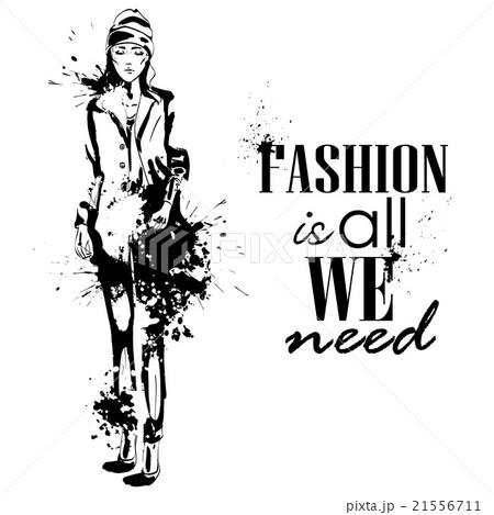 fashion look girl with splashesのイラスト素材 [21556711] - PIXTA