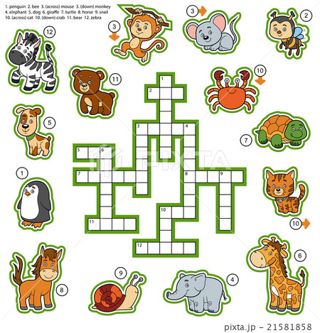 color crossword education game about animalsのイラスト素材