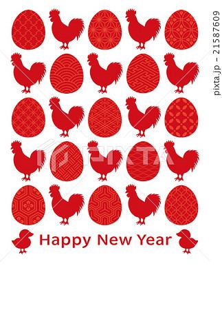 酉年 年賀状 鶏と卵のアイコン 伝統文様入り 21587609
