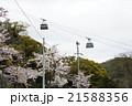 桜とロープウェー 21588356