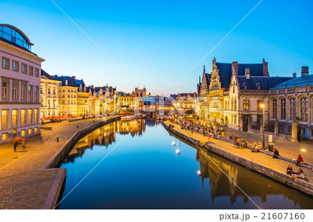 Night at Ghent canal in Belgium 21607160