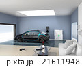 リビングルームにあるガレージイメージ。電気自動車のあるライフスタイルコンセプト 21611948