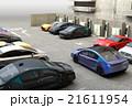 急速充電器が備える駐車場に充電スポットを探している青色電気自動車 21611954