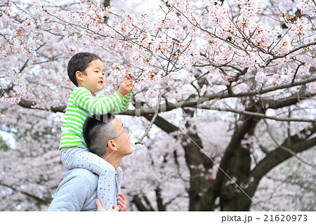 子どもを肩車するお父さん 21620973