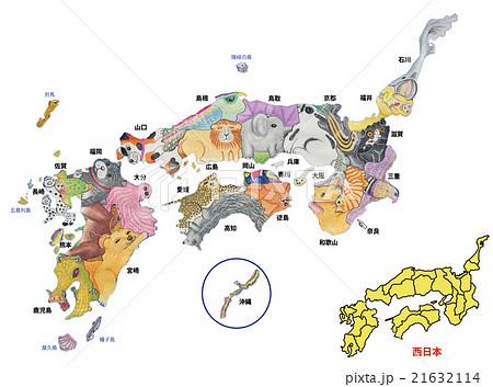 地図の動物 西日本Ⅱ(水彩色鉛筆画)県名表記 21632114