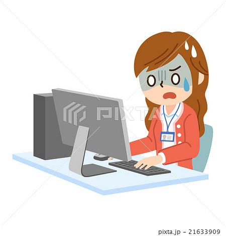 PCと女性社員 焦る 21633909
