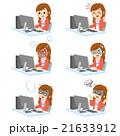PCと女性社員 セット 21633912