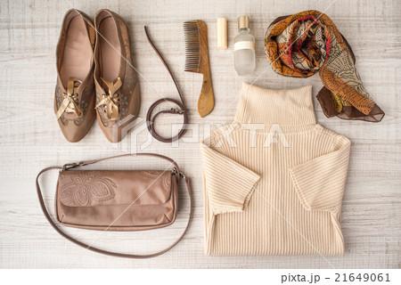 Fashion look set in beige colorsの写真素材 [21649061] - PIXTA