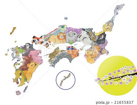 地図の動物 西日本Ⅲ(水彩色鉛筆)月と桜 21655837