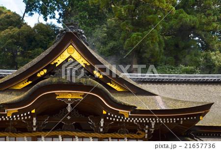 水蒸気のあがる大神神社の屋根 21657736