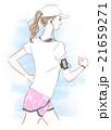 ランニング 音楽 女性のイラスト 21659271