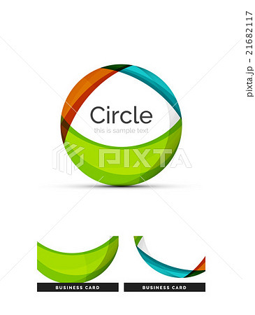 Circle logo. Transparent overlapping swirl shapesのイラスト素材 [21682117] - PIXTA