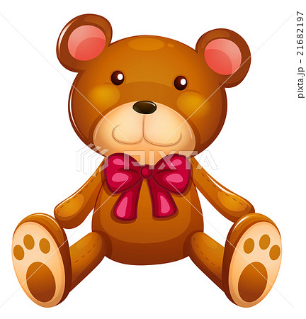 Cute teddy bear with red ribbon 21682197