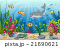 Illustration of underwater landscape with dolphin 21690621