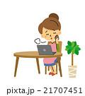ノートパソコン 悩む 女性【三頭身・シリーズ】 21707451