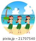 ビーチで踊るフラガール 21707540