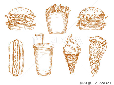 Sketches of fast food snacksのイラスト素材 [21728324] - PIXTA