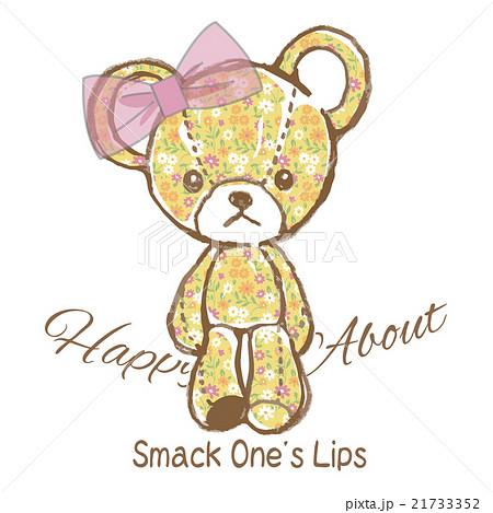 リボンを付けたかわいいクマのぬいぐるみのイラスト花柄のイラスト