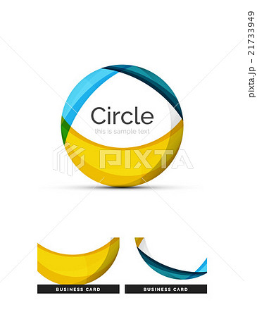 Circle logo. Transparent overlapping swirl shapesのイラスト素材 [21733949] - PIXTA