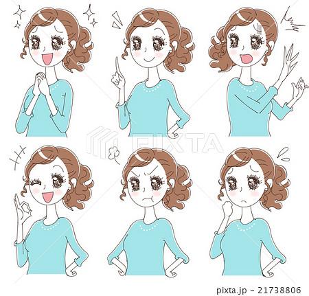 少女漫画風の女性のイラスト(セット) 21738806