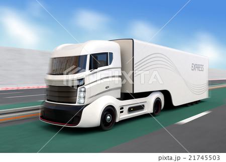 高速道路に走行する自動運転機能付きのハイブリッドトラック 21745503
