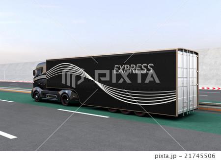 高速道路に走行する自動運転機能付きのハイブリッドトラック 21745506